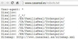 robots.txt casa real